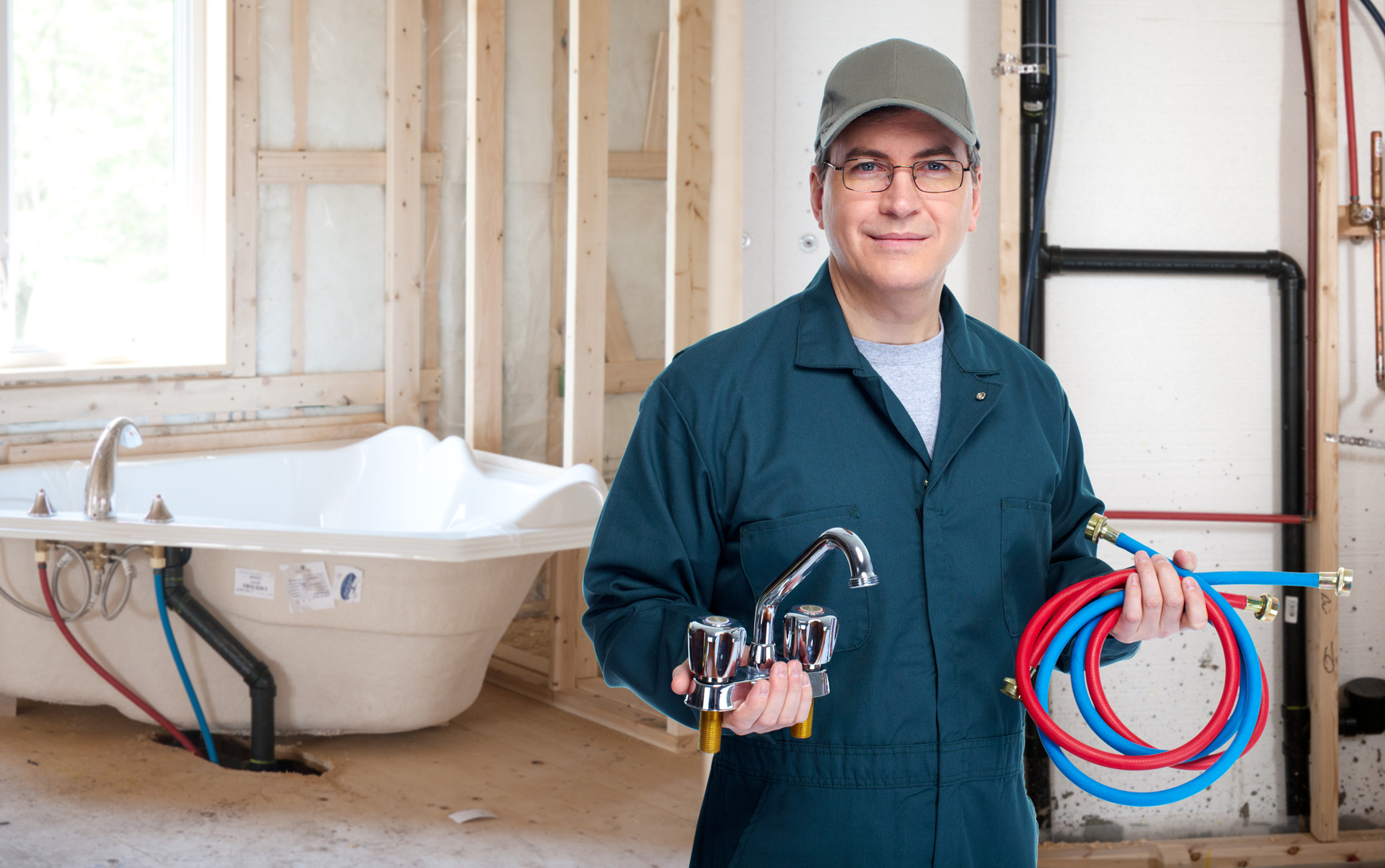Plumber with faucet.