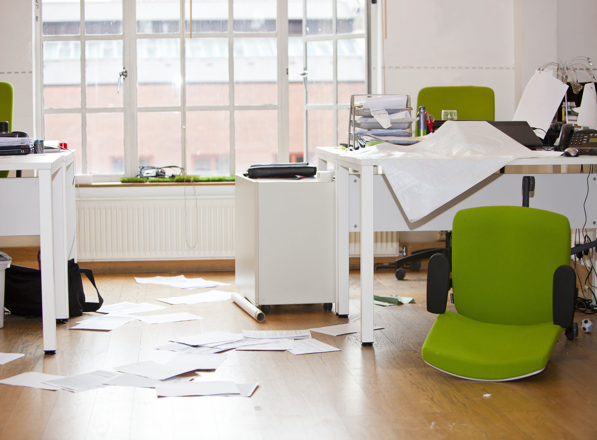 Close-up view of ransacked office